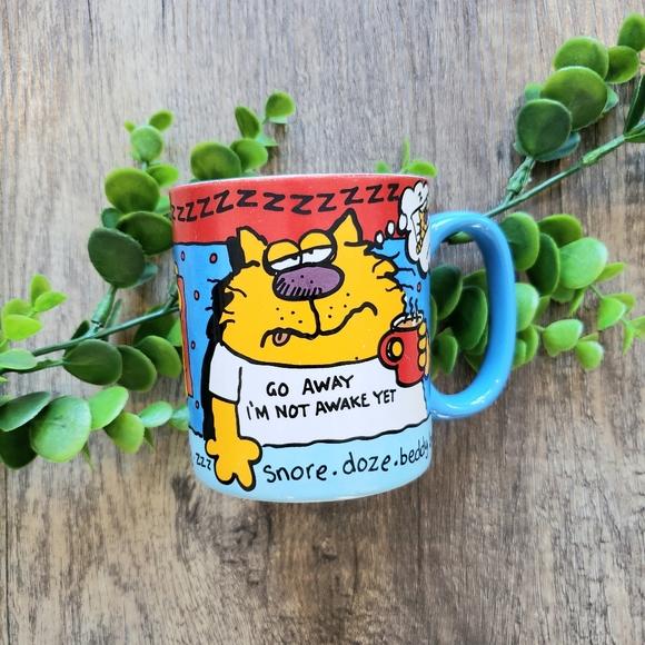 🔮2/$30 Vintage Sleepy Cat Ceramic Mug